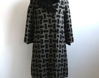 Vintage 1960s Tapestry Coat | 60s Mink Collar Coat | Geometric Tapestry Womens Coat | Black and White Geo Vintage  Coat
