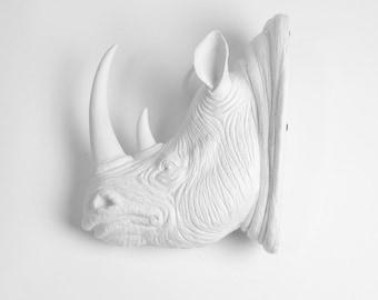 XL White Resin Rhino Head - The Goliath - White Faux Taxidermy - Faux Taxidermy - Rhino Resin White Faux Taxidermy- Chic & Trendy