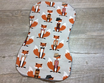 Fox and Houndstooth Burpie ~ Fox and Houndstooth ~ Woodlands Foxes ~ Boutique Style Burp Rag ~ New Mom ~ Nursing Essentials, Burpee