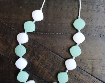 Hand made mommy teething necklace mint green and white