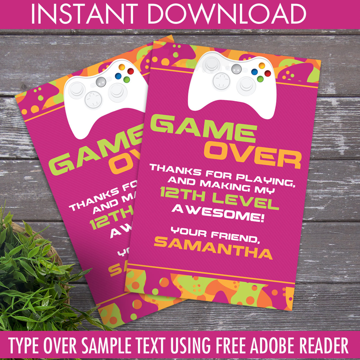 Video game party thank you card video gamer thank you birthday video game party thank you card video gamer thank you birthday gamer truck pink diy editable text instant download pdf printable stopboris Images