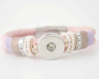 "1 Pink Leather Beads Bracelet -7.5"" Fits 18MM Candy Snap Charms Silver kc0001-p CJ0286"