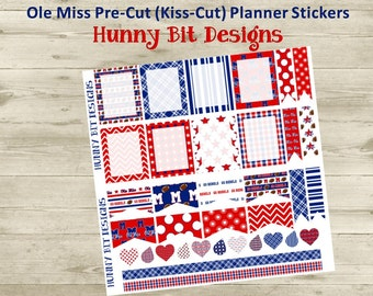 Erin Condren Planner Ole Miss Rebels Football Precut Kisscut Peel and Stick Stickers Flags Rectangle Boxes Labels Blue Red
