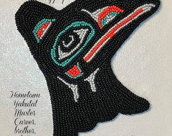 "Alaska Tlingit Raven Beaded Regalia Applique-4-1/2x4-1/2"" in Czech Glass Beads"