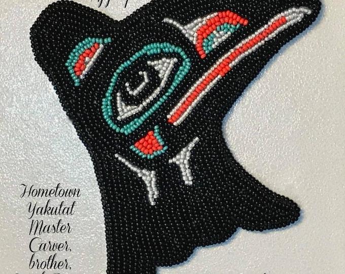 "Alaska Tlingit Raven Beaded Regalia Applique-4-1/2x4-1/2"" in Czech Glass Beads"