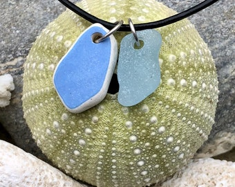 Sea glass jewelry- Blue sea glass and Blue sea glass pottery necklace