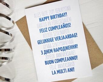 Happy Birthday card many languages blue birthday card swedish german spanish portuguese