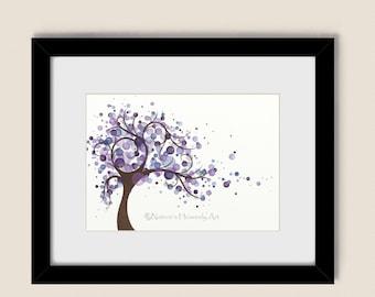 Purple Blue Wall Decor Wind Blowing Tree Watercolor Art 5 x 7 Print, Circles, Home Decor