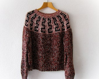 Handknit chunky sweater, oversized knitted jumper, norwegian sweater for women, plus knits pullover, fair isle sweater