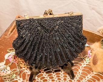 Vintage LaRegale Black Beaded Shell Evening Bag, Long Shoulder Chain/Strap, Satin Interior