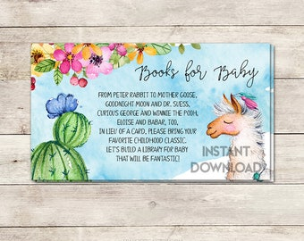 Books for Baby, Bring a Book Card, Baby Shower Activity, Baby Shower Card Insert, Llama Baby Shower, Fiesta Baby Shower, Printable No. 827