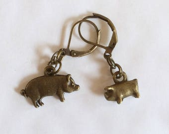 Pig sow and piglet piggy earrings handmade bronze tone charm