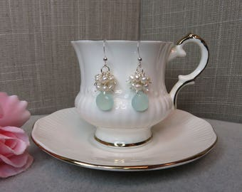 Aqua Chalcedony and Pearl Cluster Earrings in Sterling Silver