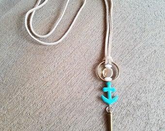 Suede Anchor Necklace