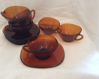 Vereco Amber Cup and Saucer set of 6