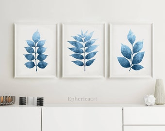 Navy Blue Wall Art Set Of 3 Prints, Botanical Set Download, Leaves  Printables Dark