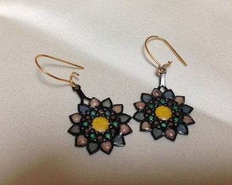 Plastic stained glass look earrings from the 60's.