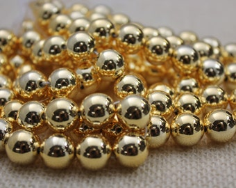 New High Quality (Made in Japan) Gold 12mm  Round Beads (24 Pieces)