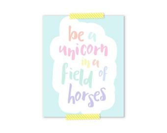 Inspirational Wall Art, Be A Unicorn, Pastel Nursery, Girly Gifts, Baby Shower Gift Girl, Aqua Nursery Decor, Pastel Rainbow, Girl Nursery