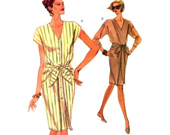 90s Vogue 8048 Loose Fitting, Straight Dress With V-Neckline, Tie Ends, Cap or Long Sleeves, U/C, Factory Folded, Sewing Pattern Size 6-10