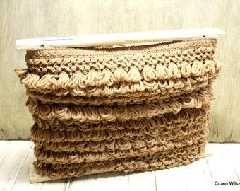 Fabric Trim - Sewing Supplies - Loop Fringe - Crafting Supplies - 17 Yards - Brown