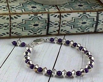 Handmade Purple Mountain Jade & Sterling Silver Bracelet