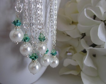 White and Mint Green Bridesmaid Necklace Bridal Party Mint Green Wedding