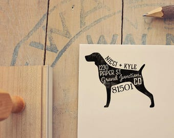 Weimaraner Return Address Stamp, Housewarming & Dog Lover Gift, Personalized Rubber Stamp, Wood Handle