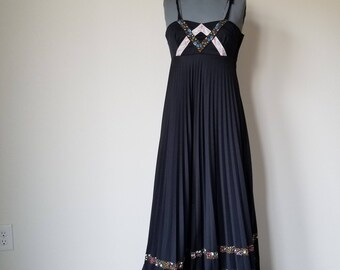 Vintage 1970's Black Maxi Dress with Floral Trim