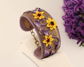 Cuff bracelet, polymer clay cuff bracelet, polymer clay, jewelry, polymer clay jewelry, gift, jewelry gift,