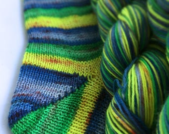 Hand dyed self striping sock yarn - They All Float