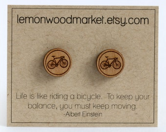 Bicycle Earrings - alder laser cut wood earrings
