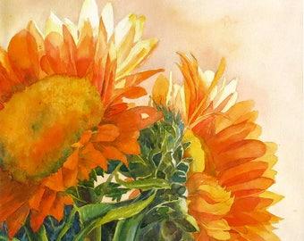 Wall art decor print Floral Flowers Sunflowers - Watercolor ByMuren A