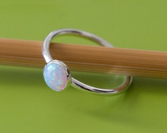 Opal Stacking Ring 6 mm, Sterling Silver Ring, Size 2 to 15, Stacker Ring, October Birthstone, White Opal, Small Stacking Ring, Womens Ring