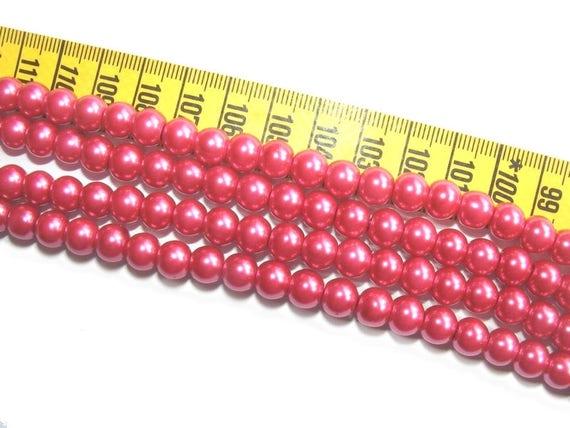 Round Pearly 8 mm Fuschia x 10
