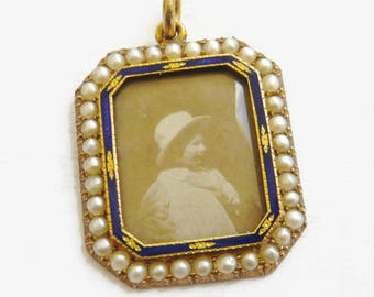 EDWARDIAN 15ct Gold Seed Pearl & Enamel Portrait Locket   Antique Portrait Locket   Pearl Locket   Gold Portrait Locket