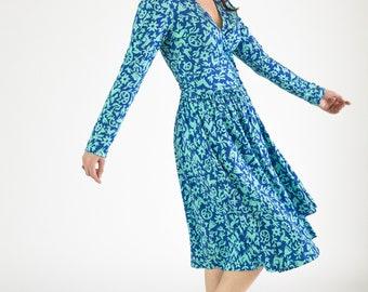 Damen Wrap Kleid hellblau und grün Drucken Langarm-Knie-Länge in Bio Pima-Baumwolle stricken Interlock nachhaltige