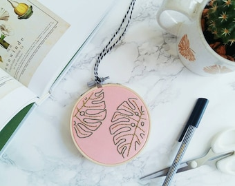 Double Monstera Leaf on Salmon Pink Hand Embroidered Hoop Art   Embroidery Design, Wall Hanging, Botanical Wall Art, Botanical Embroidery