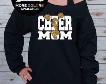 Cheer Mom Off Shoulder Raw Edge Sweatshirt for Women // GLITTER // Cheer Mom Shirt - Cheer Shirt - Mothers Day Gift (562MR Black)