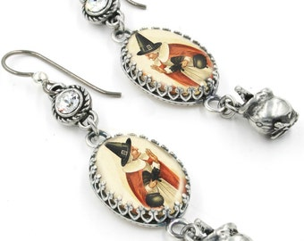 Wiccan Earrings with Crystals, Cauldron, Wicca, Witches Charm Jewelry, Vintage Witch Images Glass Drop Earrings