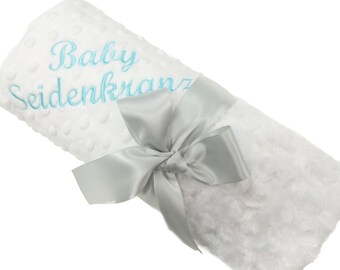 Personalized Baby Blanket White Swirl Minky Baby Blanket with White Dot Minky Back Stroller Size
