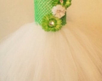 Green and white flower tutu dress
