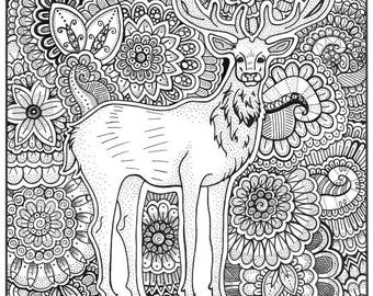 Stag Coloring Page, Coloring Book Pages, Printable Adult Coloring, Hand Drawn, Art Therapy, Instant Download Print