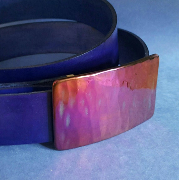 """Belt and Buckle SET Pink and Purple Hand Forged Hypoallergenic Belt Buckle & Hand Dyed Purple Leather Belt 1.5"""" Wide with Snaps Custom Cut"""
