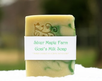 Homemade Goat's Milk Soap - Goat Milk Soap - Green Clover & Aloe - Goat's Milk Soap - Homemade Soap - Cold Processed Soap - Fresh Goat Milk
