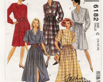 "A Front Buttoned, Full Skirt, Long/Short Sleeve Dress Sewing Pattern for Women: Uncut - Sizes 10-12-14, Bust 32-1/2""-36"" • McCall's 6182"
