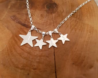 925 Sterling Silver My Family Star Necklace Personalised gift, engraved, initials