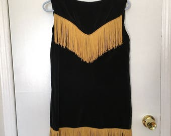 Black and Gold Fringed Dress