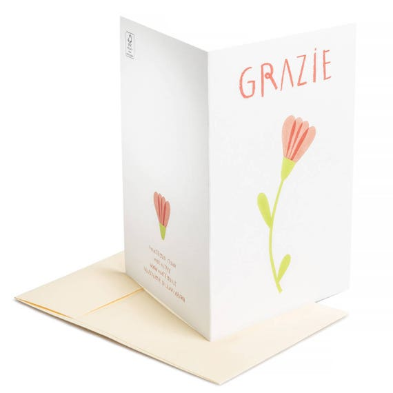 GRAZIE. Thank you card. Grazie. Floral. Basic. For mother, teacher, sister, grandma