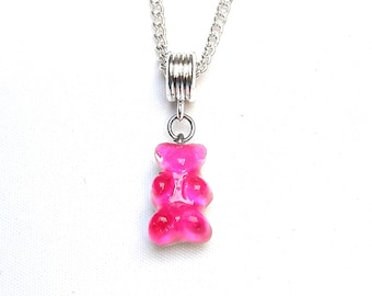 Pink gummy bear LEXFIMO pendant fuchsia - stainless steel chain